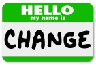 The words Hello My Name is Change on a green namtag sticker, sym