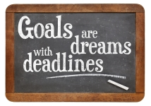 Goals are dreams with deadlines - motivational phrase on a vinta